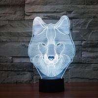 USB Nowości Prezenty 7 Kolory Zmieniające Się Zwierząt Wilk Lampki Nocne Led 3D LED Biurko Lampa Stołowa jako Dekoracji Halloween Dla Dzieci Prezent