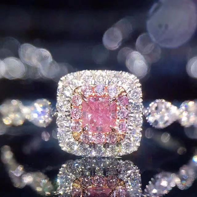 GR.NERH Brand Jewelry Silver Color Classic Pink Crystal Ring Fashion Cocktail En