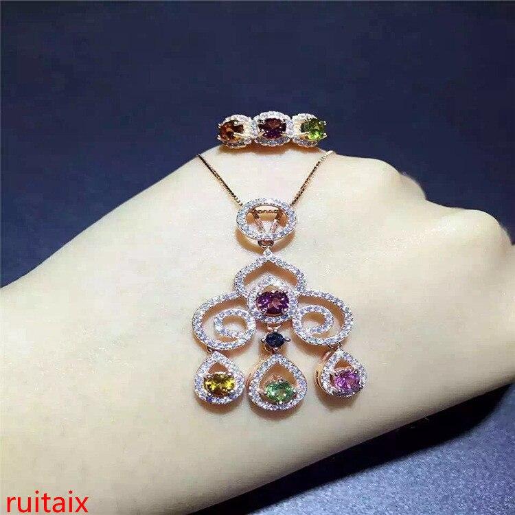 KJJEAXCMY boutique bijoux 925 argent sterling incrusté tourmaline naturelle pendentif et bague costume pour collier.