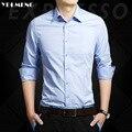 Мужчины Рубашка homme С Длинным рукавом Luxury Brand твердые Slim Fit белый розовый равнине DJ19 Хлопок полиэстер Формальные Бизнес Boss Стиль