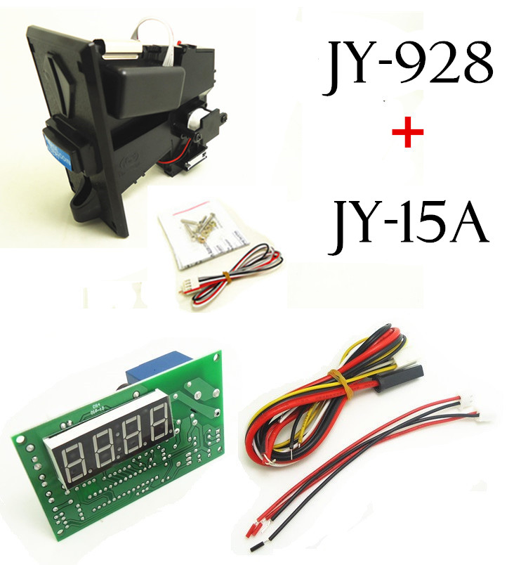 1 KIT of JY-928+JY-15A coin acceptor with timer board coin operated time control device for cafe kiosk for 1-3 kinds of coins small condoms vending machine with coins acceptor with 5 choices