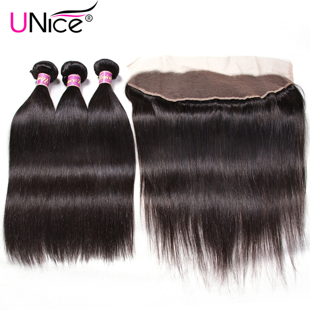 Unice Hair Peruvian Straight Hair Lace Frontal Closure With Bundles 4PCS 100% Human Hair Bundle With Free Part Closure Remy Hair