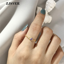 ZJSVER Korean Jewelry 925 Sterling Silver Ring Golden Simple Purple Crystal Opening Adjustable Women Chain Festival Present