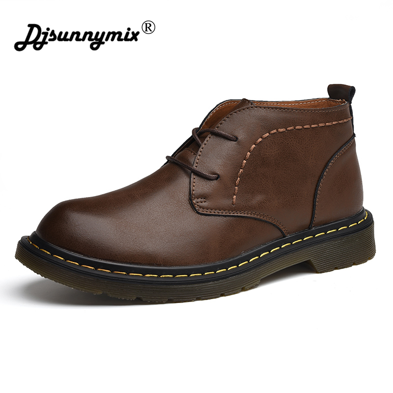 DJSUNNYMIX Autumn Winter Retro Genuine Leather Ankle Boots Fashion Men Martin Boots men Dress shoes autumn winter men shoes vintage design fashion genuine leather ankle boots