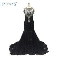 Gorgeous Real Sample Custom Made High Quality Black Evening Dress Long Dubai Prom Party Gown 2017 vestido de festa ASAE19