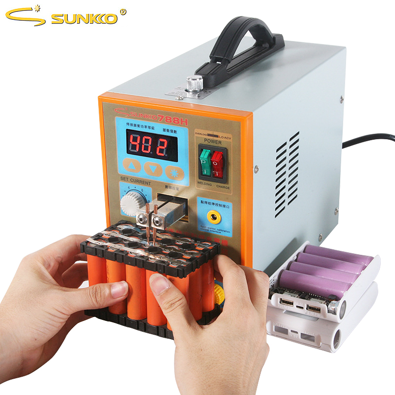 SUNKKO 788H Battery Spot Welder 1.5KW Multifunction Pulse Spot Welding Machine USB Charging Test For 18650 Battery Packs Welding