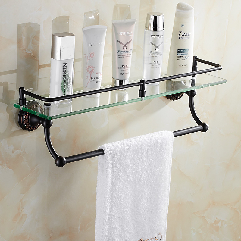 Vintage Copper Black Cosmetics Holder With Towel Rack Brushed Crown Base Glass Shelf Storage Wall Mount Bathroom Accessories Fe6