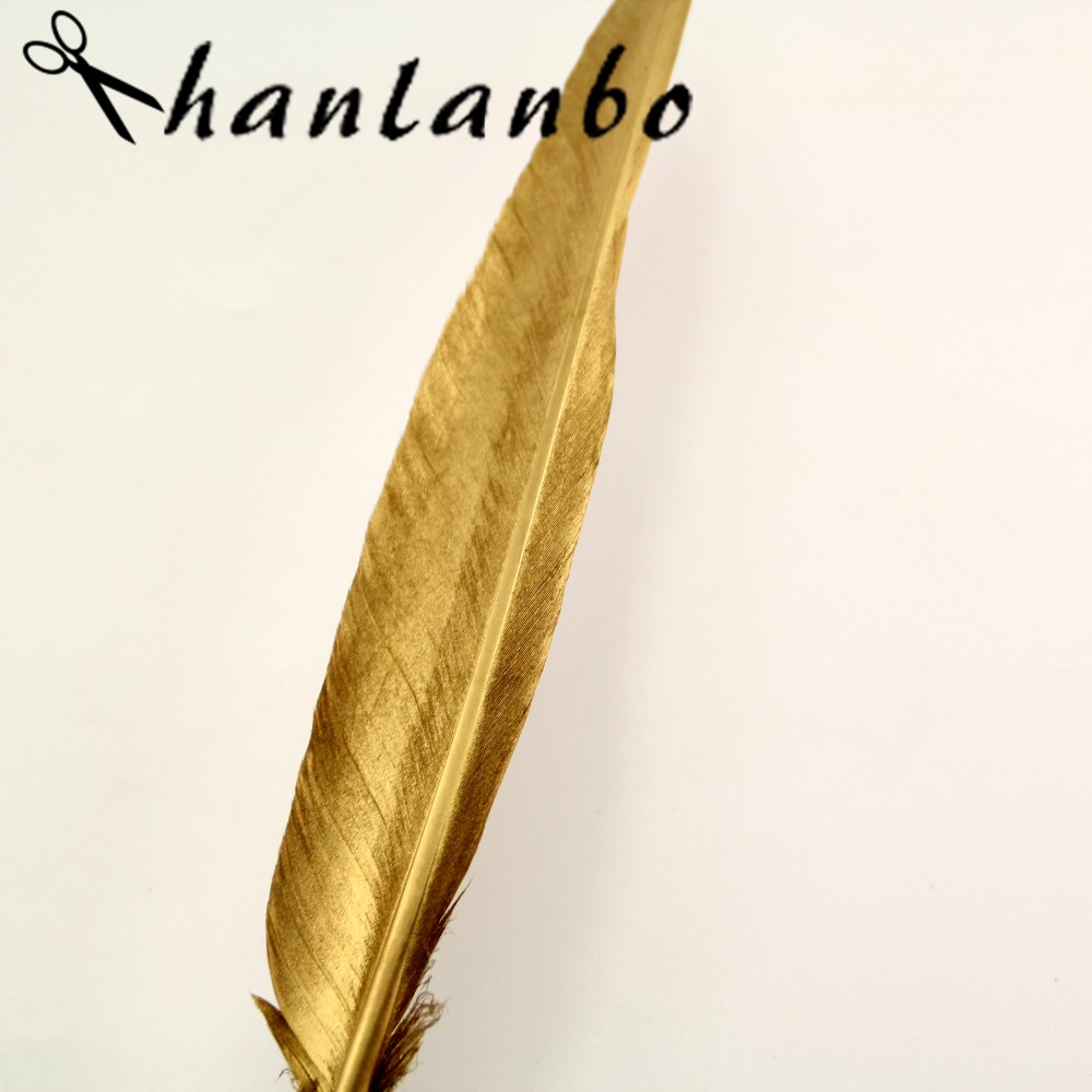 12-14 inches 35-40 cm 20Pcs gold Glittering Natural Goose Feather DIY Accessories plumes Party Decoration