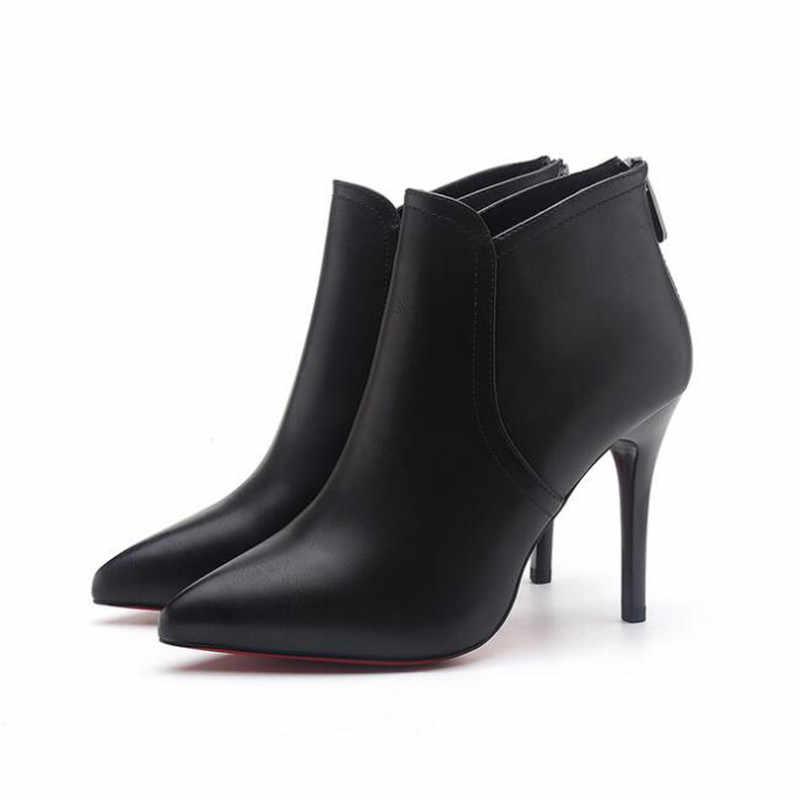 Kadın moda rahat siyah pu deri yarım çizmeler bayan serin sonbahar ve kış yüksek topuk martin çizmeler botas