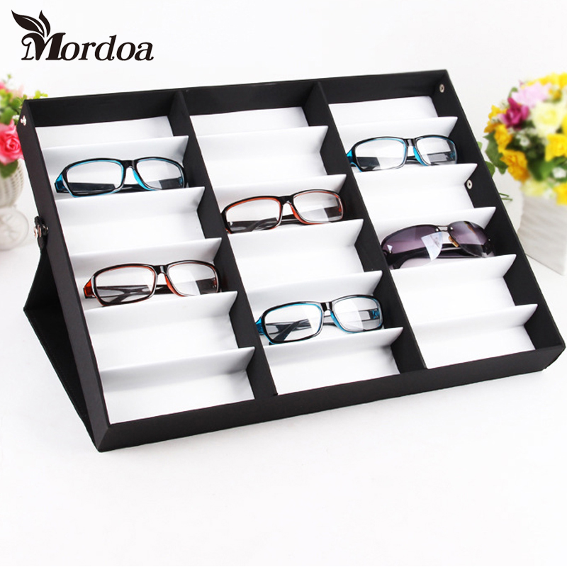 Mordoa Useful 1pcs 18 Grid Glasses Display Box Sunglasses Storage Shelf Jewelry Display Props Sunglasses Display Rack mordoa 12pcs glasses storage display case box eyeglass sunglasses optical display organizer frames tray 3d glasses display rack