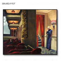 Top Artist Hand painted High Quality Wall Art New York Movie Oil Painting on Canvas Beauty Edward Hopper New York Movie Picture
