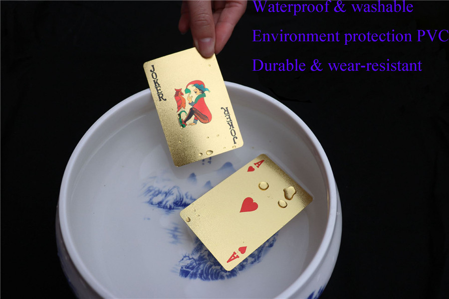 Washable 24K Golden Dragon Playing Cards PVC Waterproof 54pcs Poker Board Game Deck Durable Gold Plated Foil Poker Card Set (1)