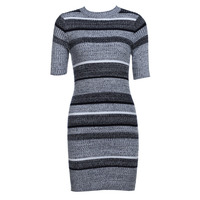 2017 Women Autumn Winter Sexy Dress Short Sleeve Party Skinny Knitted Striped Warm Sweaters Dresses Casual