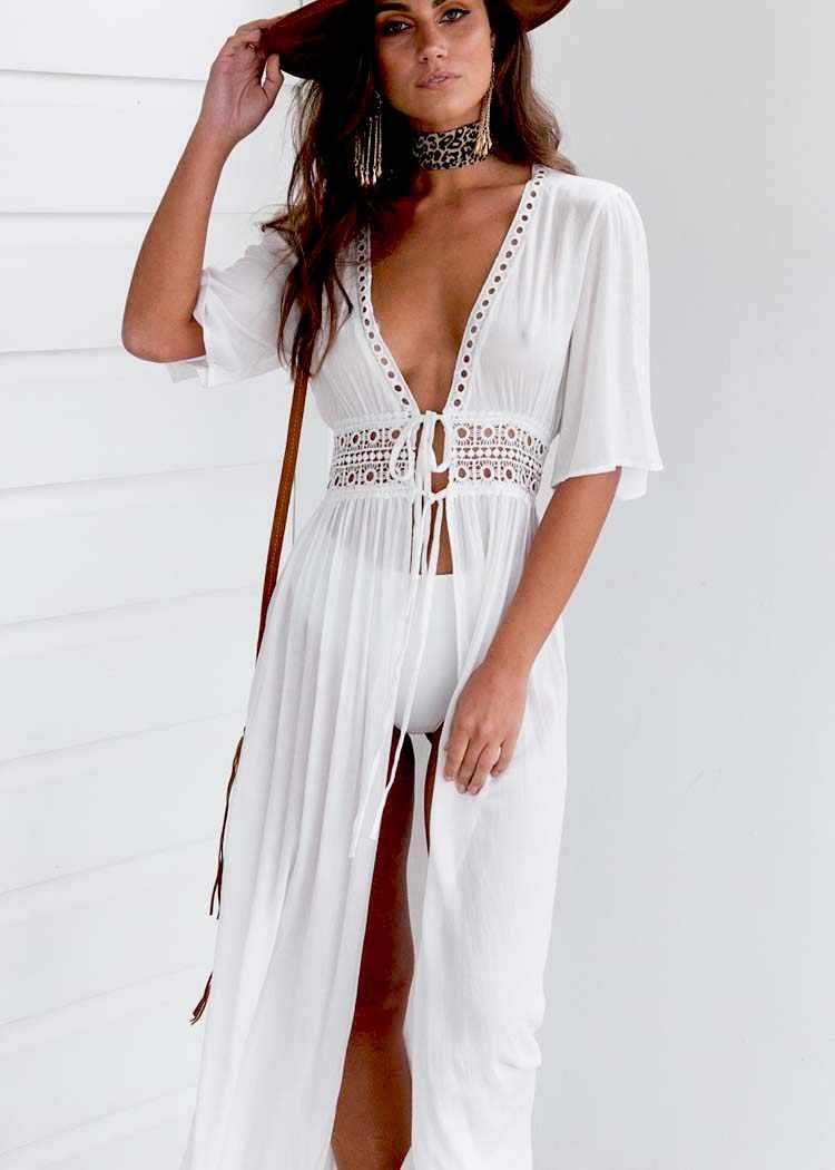 2019 Zomer Pareo Beach Cover Up Vrouwen tunieken voor strand Korte Mouwen V-hals wit strand jurk Dragen Badmode Vestidos cover Up