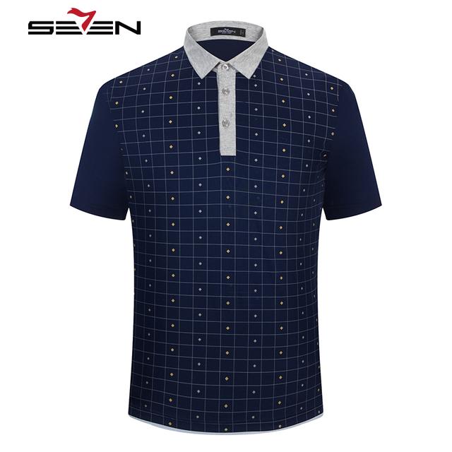 Seven7 primavera verano hombres polo camisas a cuadros patrón geométrico impreso rendimiento casual polo camisas de los hombres de moda tops 110t58250
