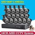 2500TVL 960P AHD Outdoor CCTV Camera System 16CH AHD 1080P DVR 16pcs 1.3MP  IR Security Camera System HDMI Onvif DVR Recorder