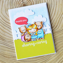 YaMinSanNiO Girl Stamps and Dies Cute Bear Metal Cutting Scrapbooking Pig Stamp Die Sets Animal Craft Cuts Cards Making
