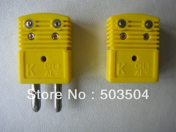 Dtandard Type K type thermocouple connector,  Male & Femal, Yellow color Round Hollow Pin