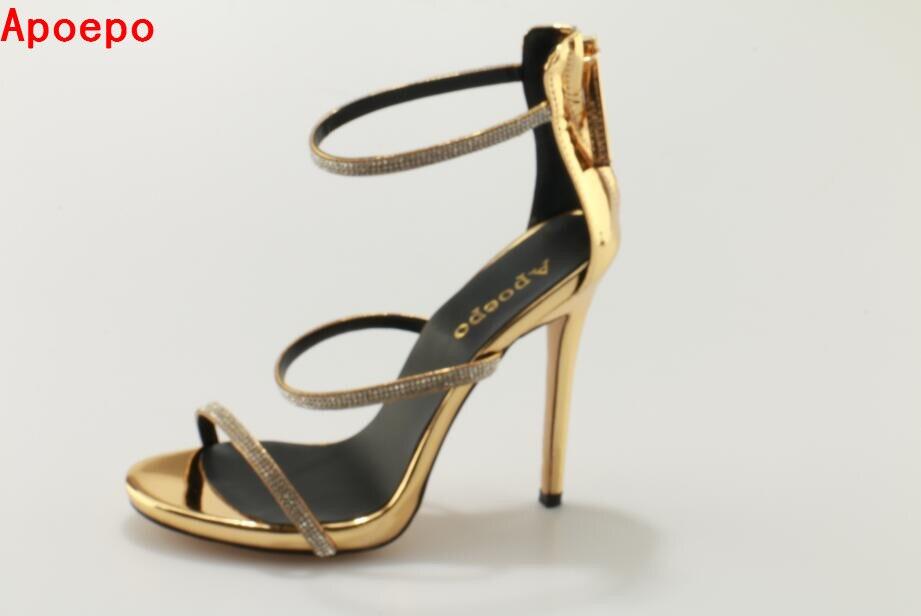 Здесь продается  Hot selling bling crystal embellished high heel sandal gold leather ankle strap gladiator sandal woman thin heels sandal size 10  Обувь