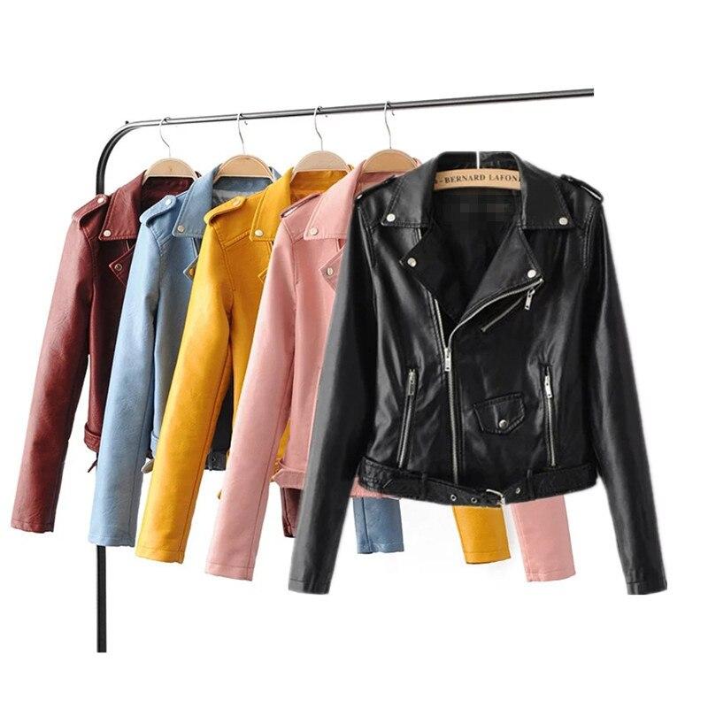 JRMISSLI Zipper PU leather coat jacket Short Pink motocicleta chaqueta con bolsi