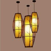 LED Pendant Lamps Bamboo Weaving Black Rustic pendant light Luminaire Hanging Lamp Restaurant Antique Simple home Lighting G054