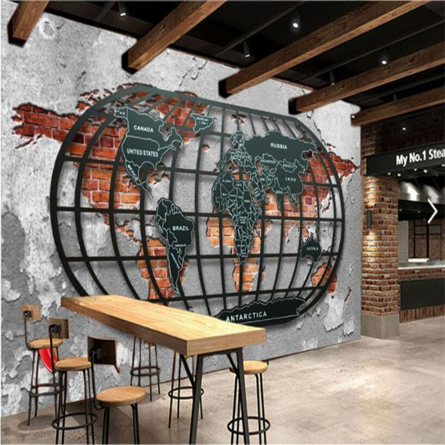 Beibehang Custom Tapete Retro Nostalgischen Relief Metall Welt Karte