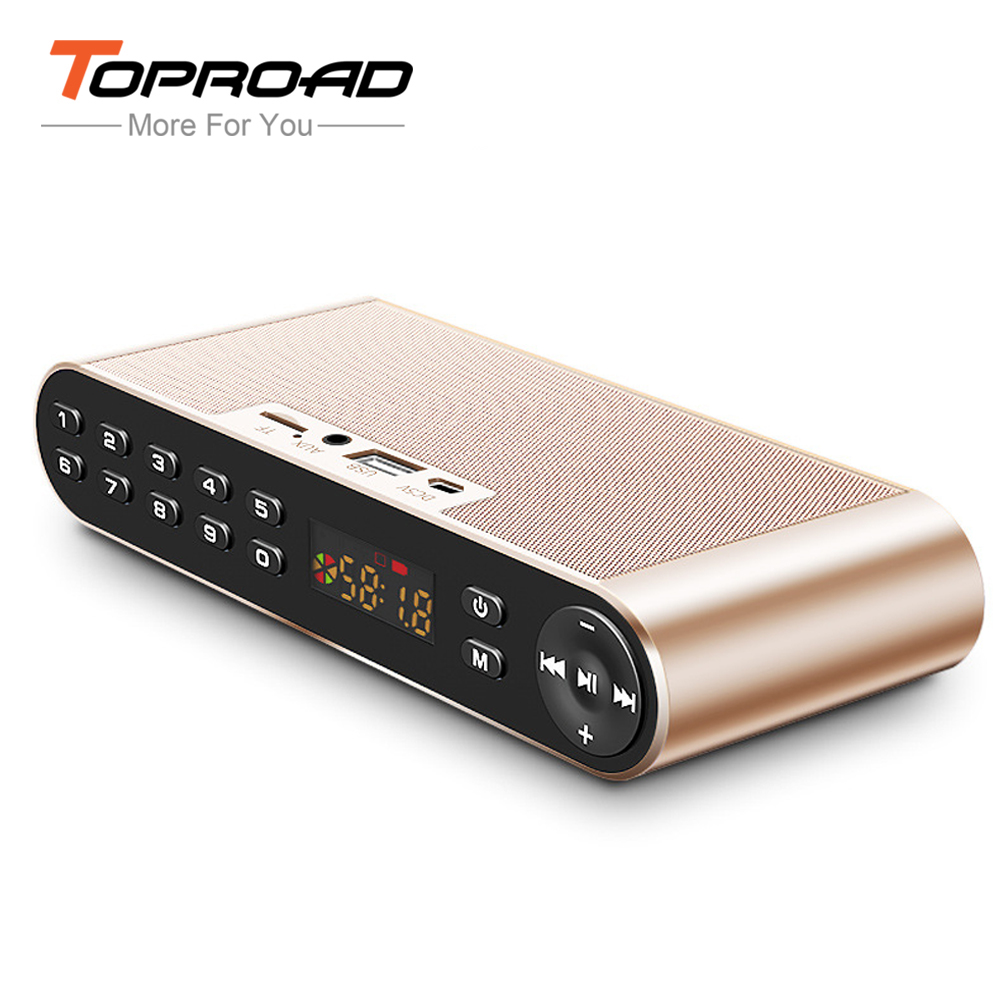 TOPROAD Portable HIFI Altavoz Bluetooth Speaker Wireless Computer Phones Speakers Bass Subwoofer Soundbar With Mic TF AUX FM USB