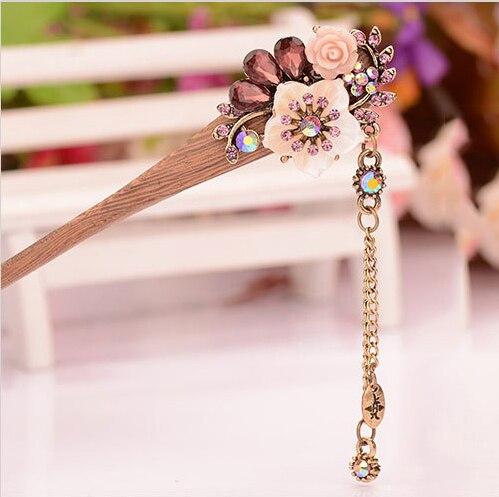 muylinda Shell Flower Wooden Hairpin Sticks Crystal Rhinestone Hair - Mote smykker - Bilde 5