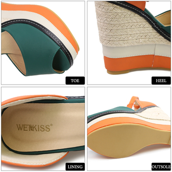 WETKISS Sexy Open toe Weave Patch Color Wedges Gladiator Sandals Women High Heels Platform Sandals Summer Women's Shoes Woman 8