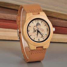 Cute Personalized Custom-Made Bamboo Wristwatch