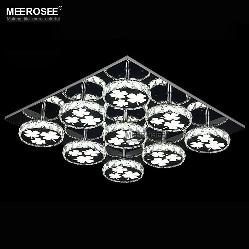 Modern led chandelier light fixture square crystal lamp - Lamparas de techo led ...