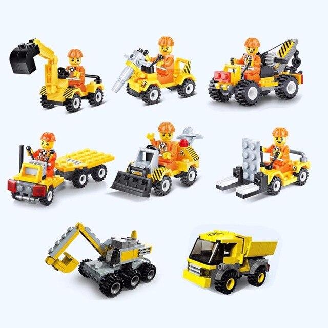 Construction vehicle Bulldozer Excavator Forklift Crane Building Blocks LegoINGlys Minifigure Cars Toys For Children