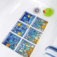 Moderne simple creative 3D DIY baignoire pâte autocollant avec Bleu mosaïque motif Salle De Bains salle de douche stickers muraux Salle De Bains décor