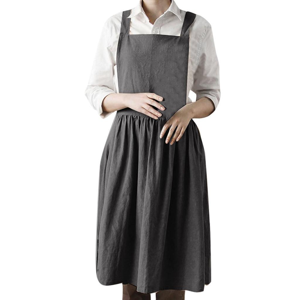 1de174aa03 Dress Women Linen Sleeveless Home Cooking Florist Cute Bib Apron Pinafore  Dress Slim soft touch 2019 new arrival dresses summer