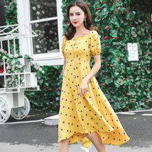 New Womens Dress Summer 2019 Fashion Vintage Style Square collar Single-breasted Princess Dot
