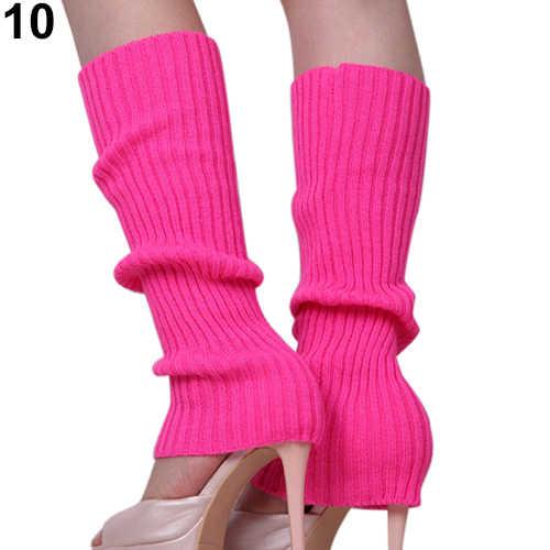 Bayan kadın katı şeker renk örgü kış bacak ısıtıcıları gevşek stil çizme diz yüksek çizme çorap tayt hediye sıcak botlar bacak