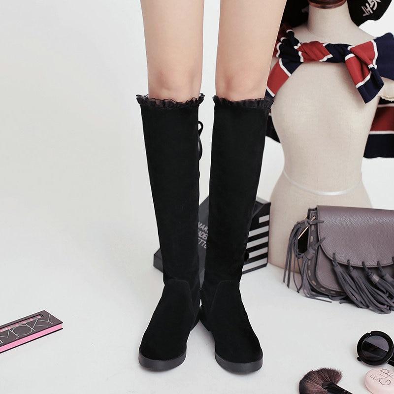 Encaje 34 Mujeres Dedos Caliente Dama Los Tamaño De Plus Pies Invierno Patchworm Planos Mujer Zapato Ternero Beige 43 Zapatos Ronda negro mediados Botas Tacones rojo d7zzqRX