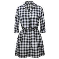 Women Plaid Dresses Long Sleeve Turn Down Collar Causal Shirt Dress Vestidos Office Dress Tunic Women
