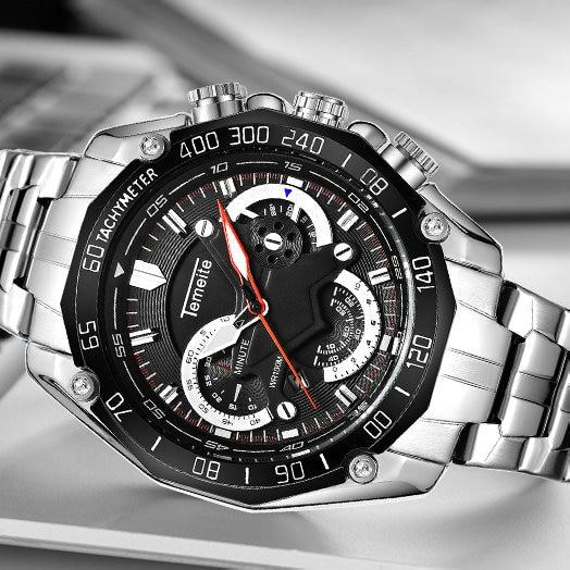2019 Fashion Sport TEMEITE Watches Men Stainless Steel Strap Top Brand Luxury Quartz Wristwatches Calendar Waterproof Clock