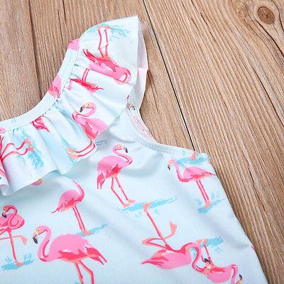 New Style Toddler Kid Baby Girl Ruffles Swan Bikini Swimwear Beachwear Summer Baby Girls One-Piece Bathing Suit Swimsuit