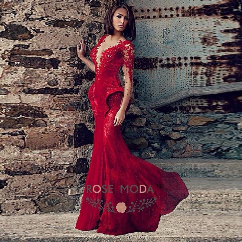 f4c4ca58351 Rose Moda V Neck Long Sleeves Wine Red Lace Velvet Mermaid Prom Dress 2019