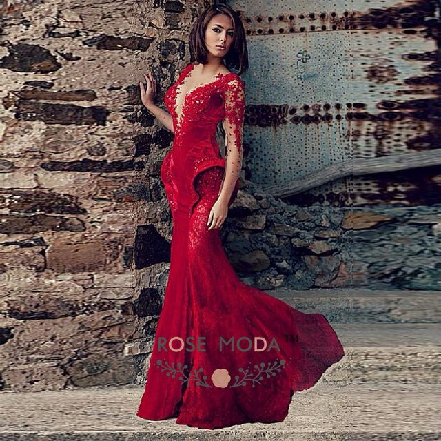 2e9753d324 Rose Moda V Neck Long Sleeves Wine Red Lace Velvet Mermaid Prom Dress 2019