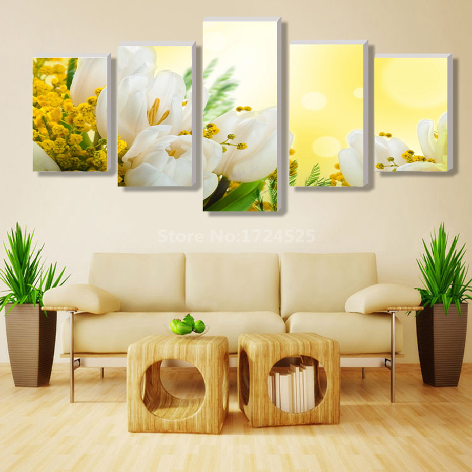 2017 Top Fashion New Prints 5 Pieces Canvas Wall Art Lily Flower ...