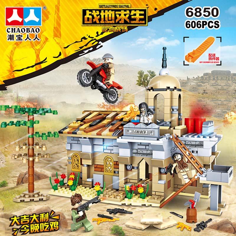 606PCS NEW Compatible LegoINGlys MILITARY PUBG Desert Church Mini Figure Army Gun Weapons Soldiers SWAT Building