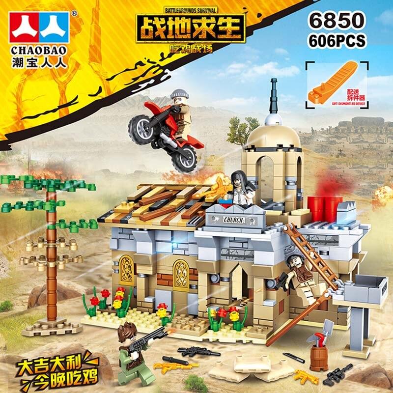 606 個の新しい互換 LegoINGlys 軍事 PUBG 砂漠教会ミニフィギュア軍銃武器兵士 SWAT ビルディングブロックのおもちゃギフト  グループ上の おもちゃ & ホビー からの ブロック の中 1