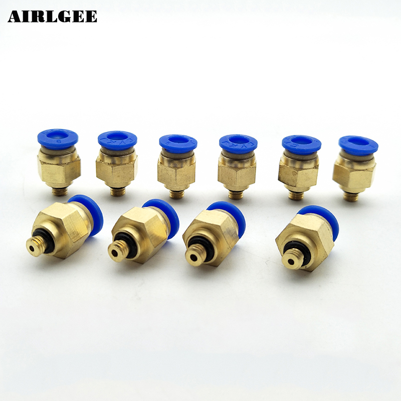 10 PCS M5 Thread 6mm Push in Tube Dia Pneumatic Air Quick Release Fittings Connector Joint Free shipping y design 3 ways 8mm pneumatic piping quick joint fittings connector 10 pcs