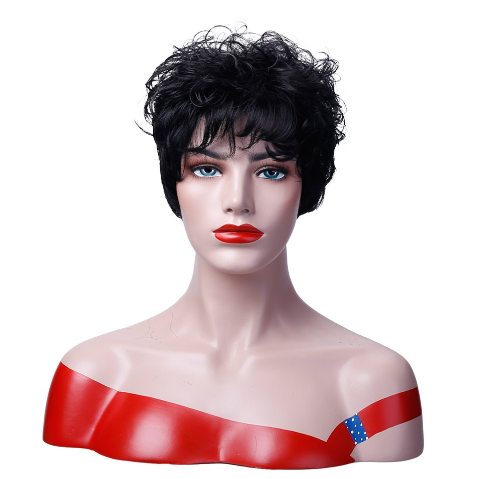 DIFEI Short Curly Hair High Temperature Fiber Female Synthetic Halloween Wig Cosplay Wig