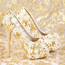 2016 Handmade Fashion Gold Wedding Shoes  Genuine Leather Women Shoes Popular Platform High Heels Rhinestone Bridal Shoes