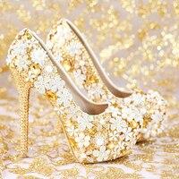 2018 модная свадебная обувь ручной работы золотистого цвета женская обувь из натуральной кожи Популярные свадебные туфли на платформе и высо