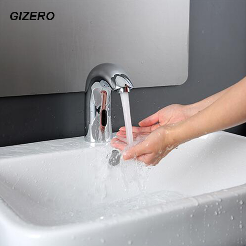100% Solid Brass Chrome Polished Touchless Automatic Sensor Faucet Electric Infrared Bathroom Sink Faucet pia do banheiro ZR1019